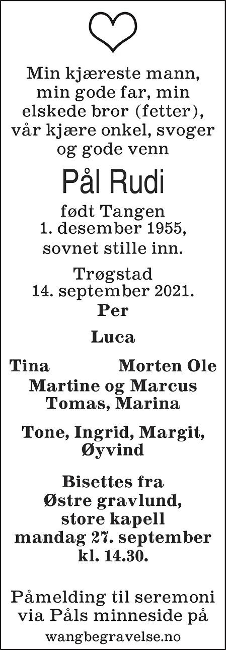 Pål Rudi Dødsannonse