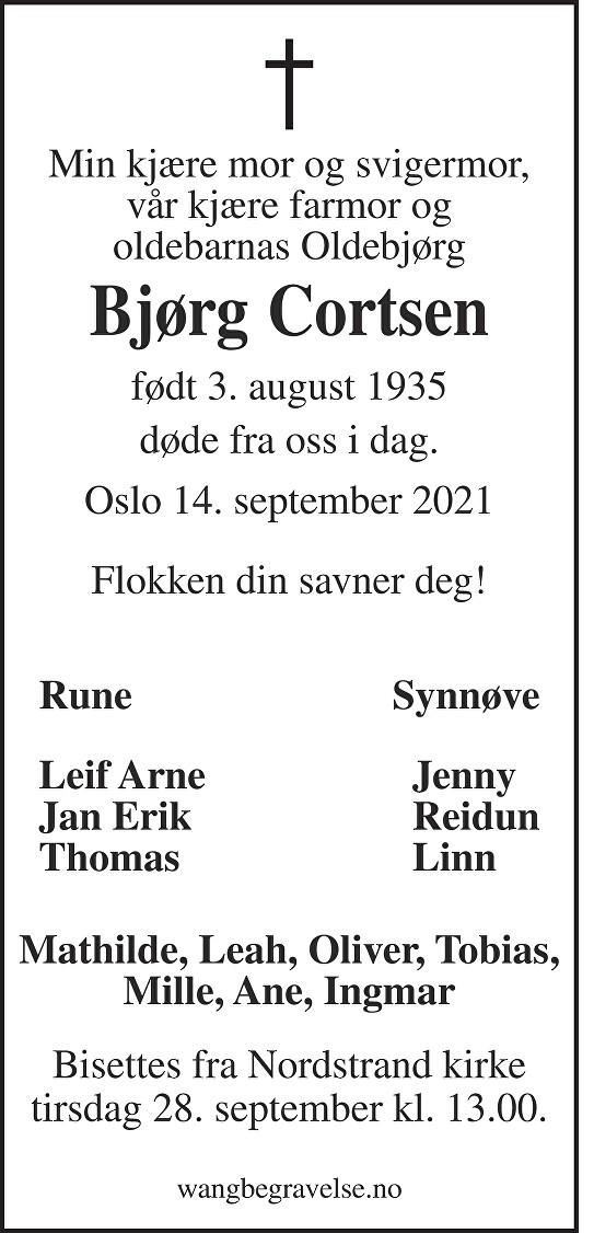 Bjørg Cortsen Dødsannonse