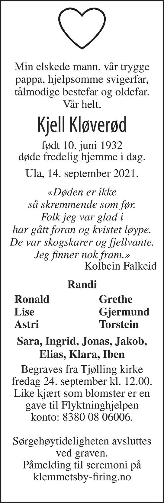 Kjell Kløverød Dødsannonse