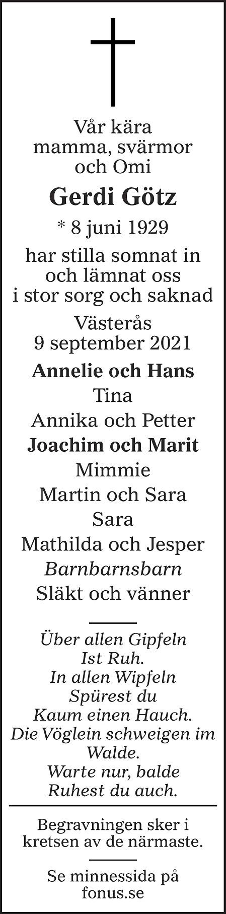 Gerdi Götz Death notice