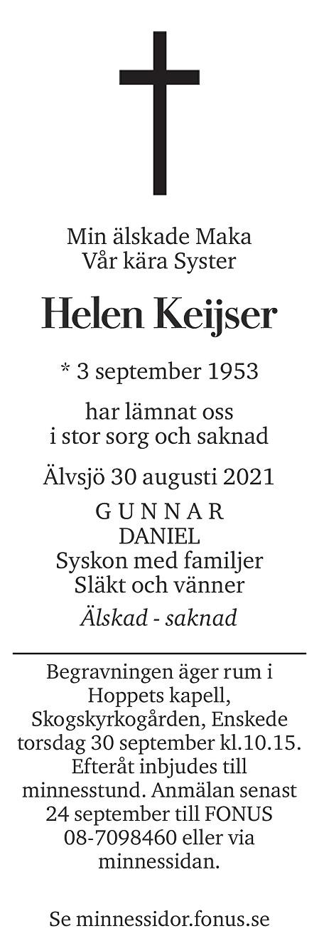 Helen Keijser Death notice