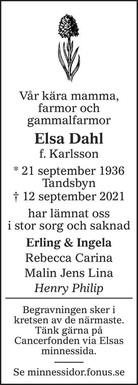 Elsa Dahl Death notice