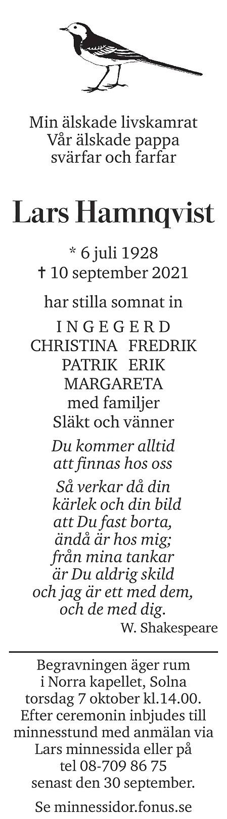 Lars Hamnqvist Death notice