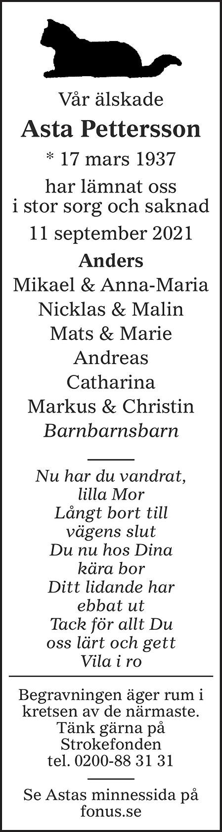 Asta Pettersson Death notice