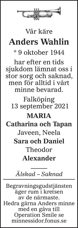 Anders Wahlin Death notice