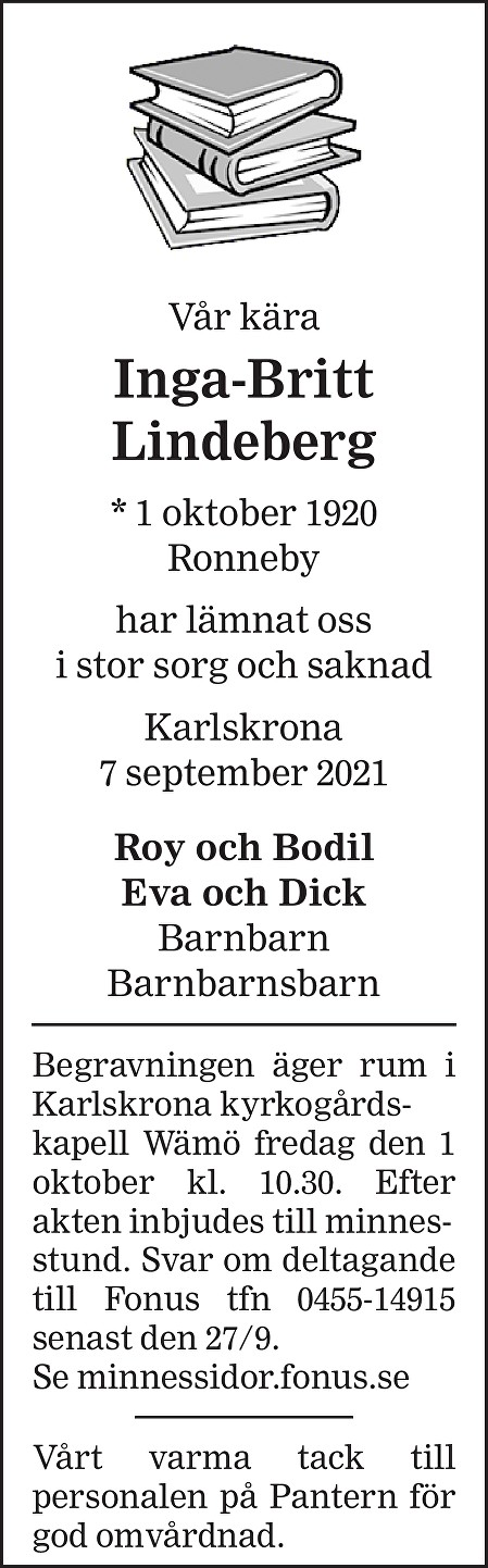 Inga-Britt Lindeberg Death notice