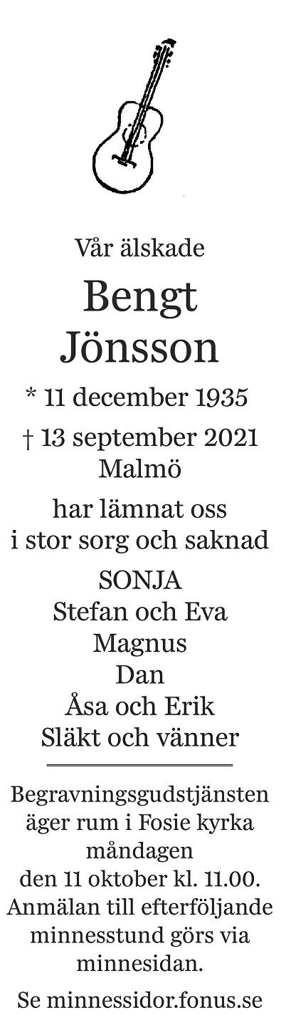 Bengt Jönsson Death notice