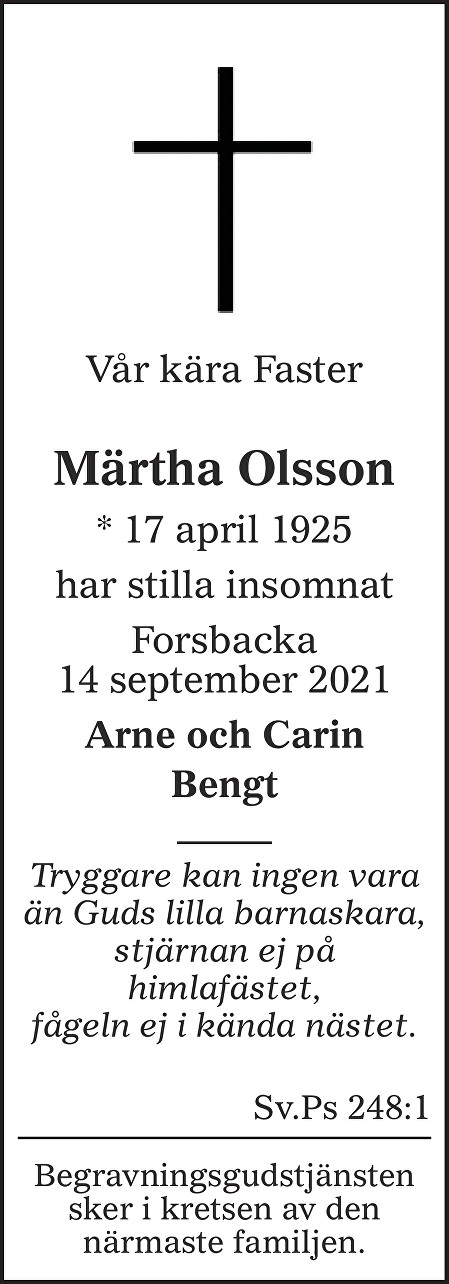 Märtha Olsson Death notice