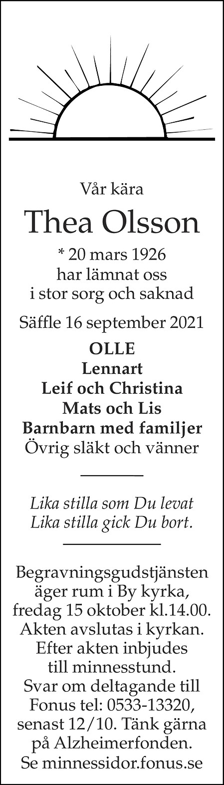 Thea Olsson Death notice