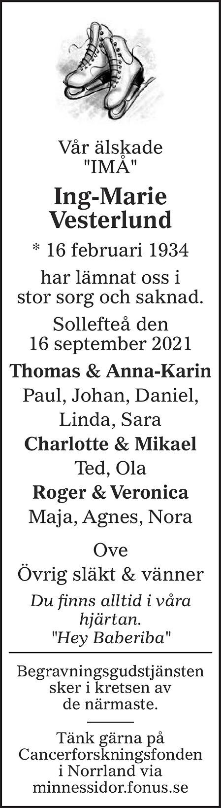 Ing-Marie Vesterlund Death notice