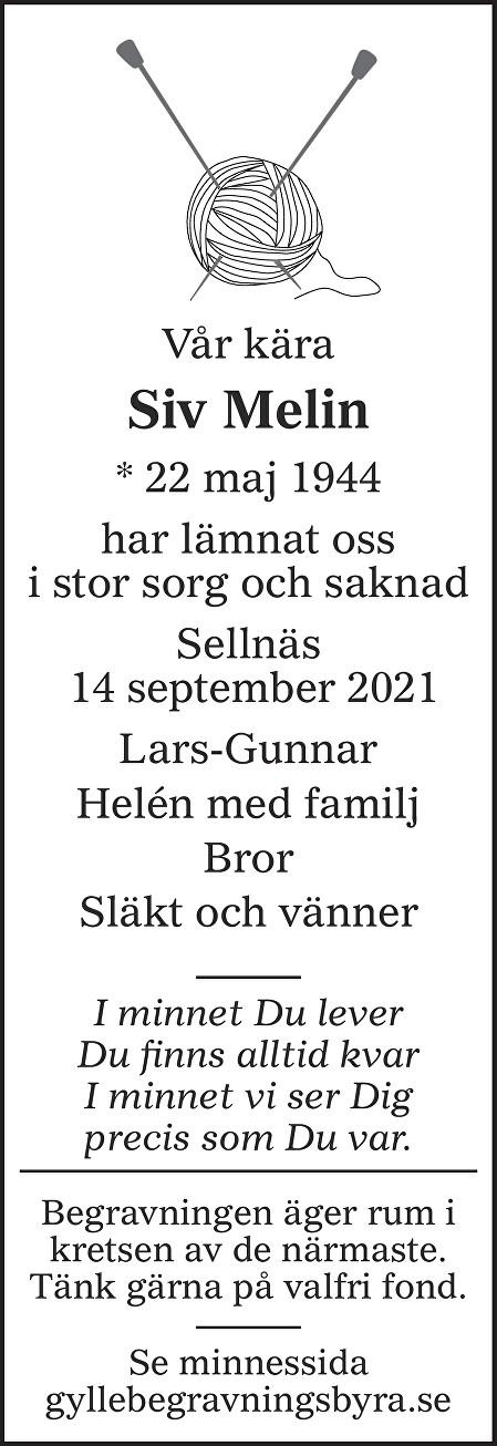 Siv Melin Death notice