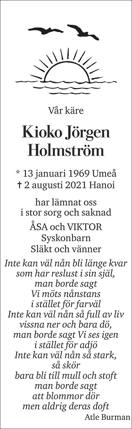 Kioko Jörgen Holmström Death notice
