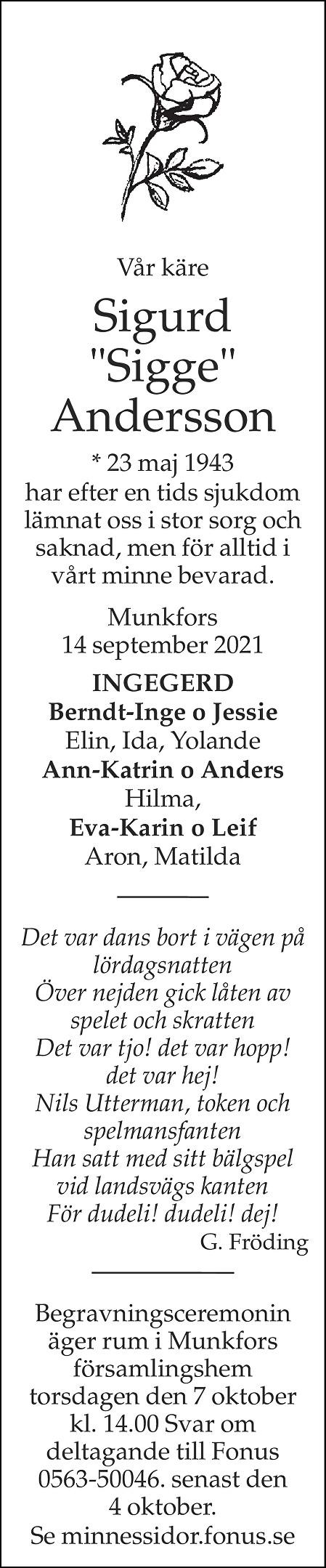 Sigurd Andersson Death notice