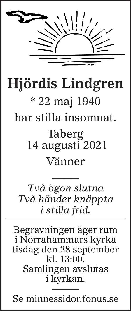 Hjördis Lindgren Death notice