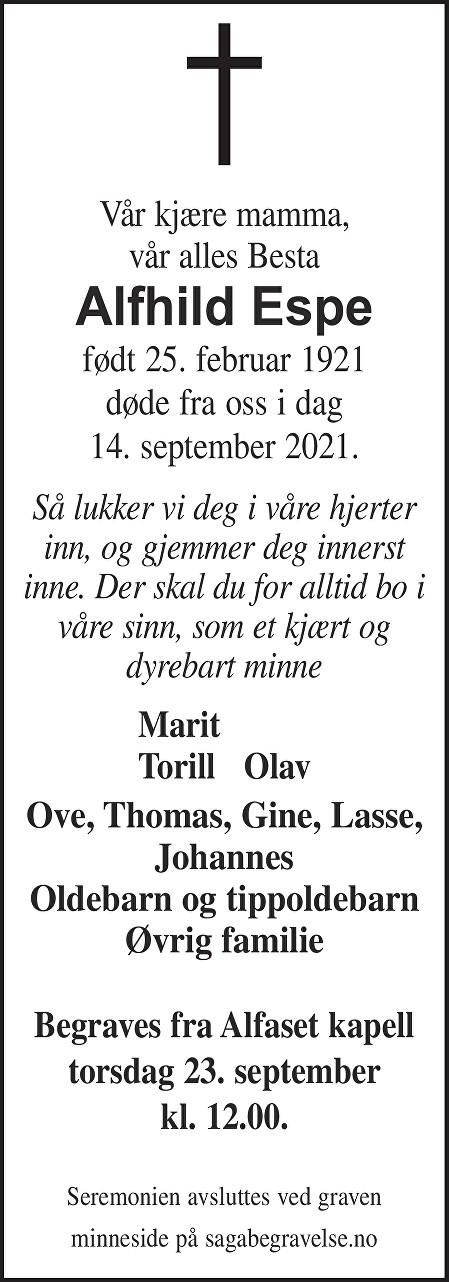 Alfhild Espe Dødsannonse