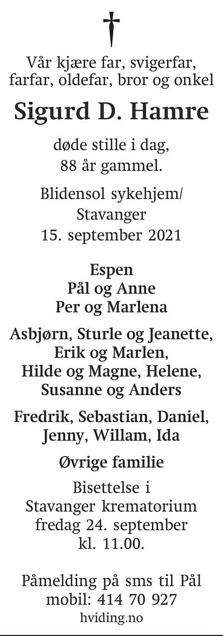 Sigurd D. Hamre Dødsannonse