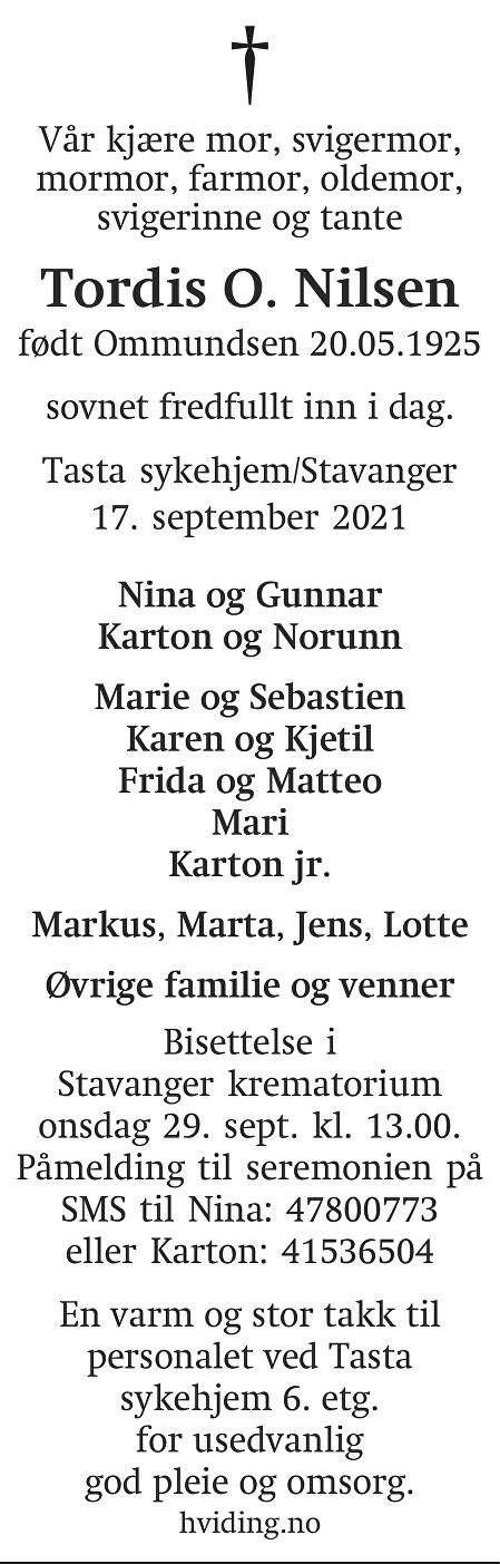 Tordis Olivia Nilsen Dødsannonse