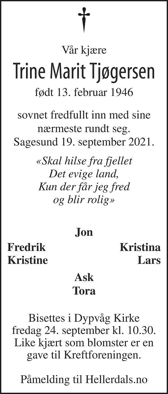 Trine Marit Tjøgersen Dødsannonse