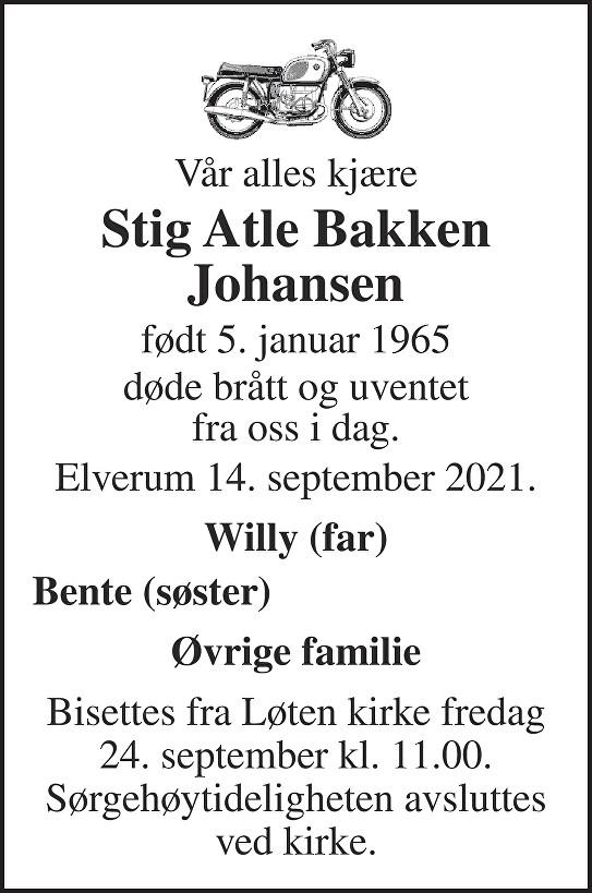 Stig Atle Bakken Johansen Dødsannonse