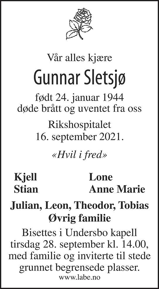 Gunnar Sletsjø Dødsannonse