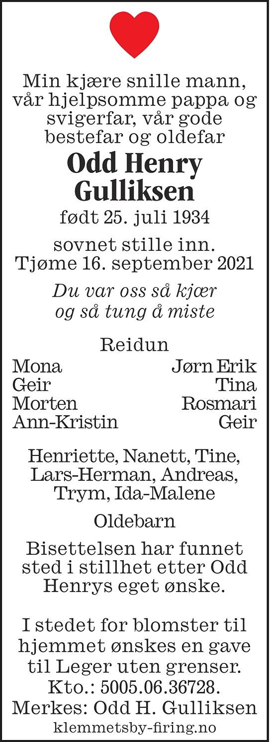 Odd Henry Gulliksen Dødsannonse
