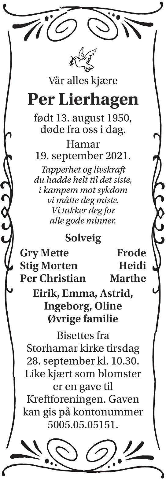 Per Lierhagen Dødsannonse