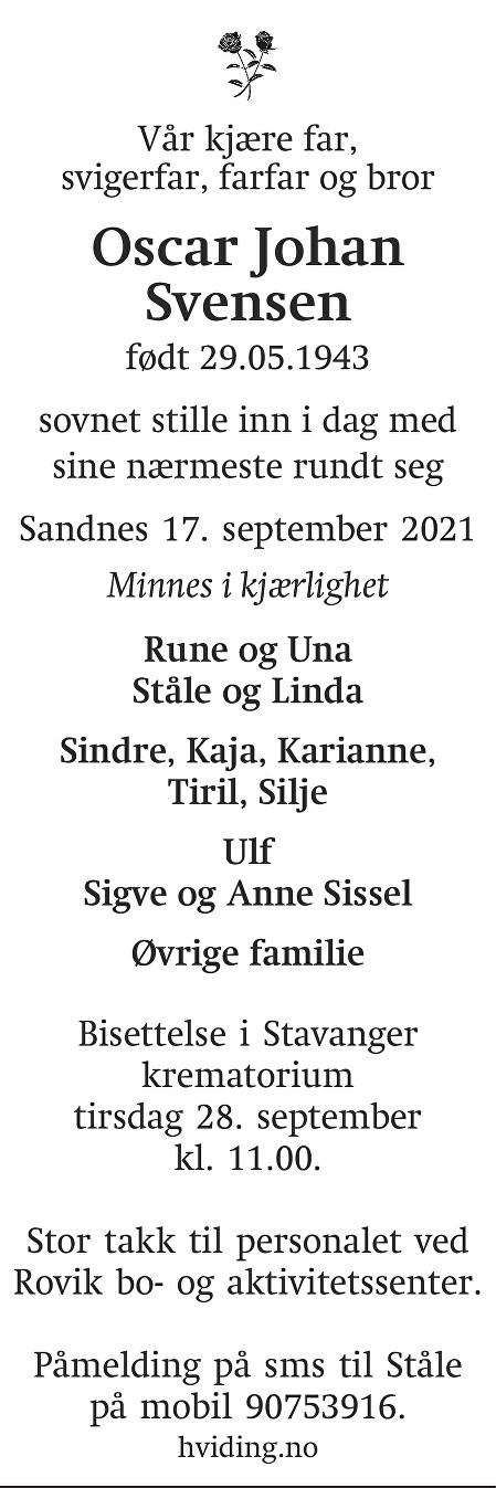 Oscar Johan Svensen Dødsannonse