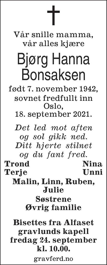 Bjørg Hanna Bonsaksen Dødsannonse