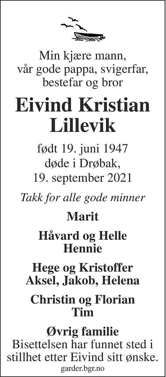 Eivind Kristian Lillevik Dødsannonse