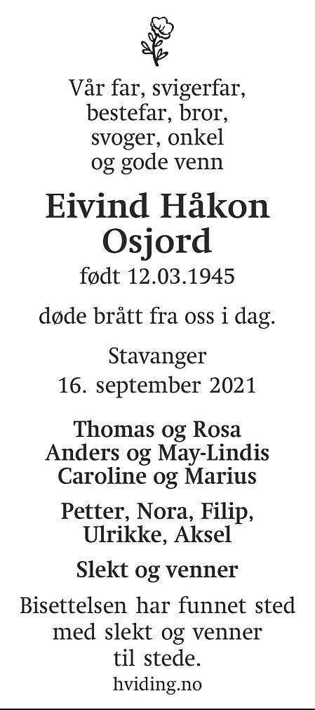 Eivind Håkon  Osjord Dødsannonse
