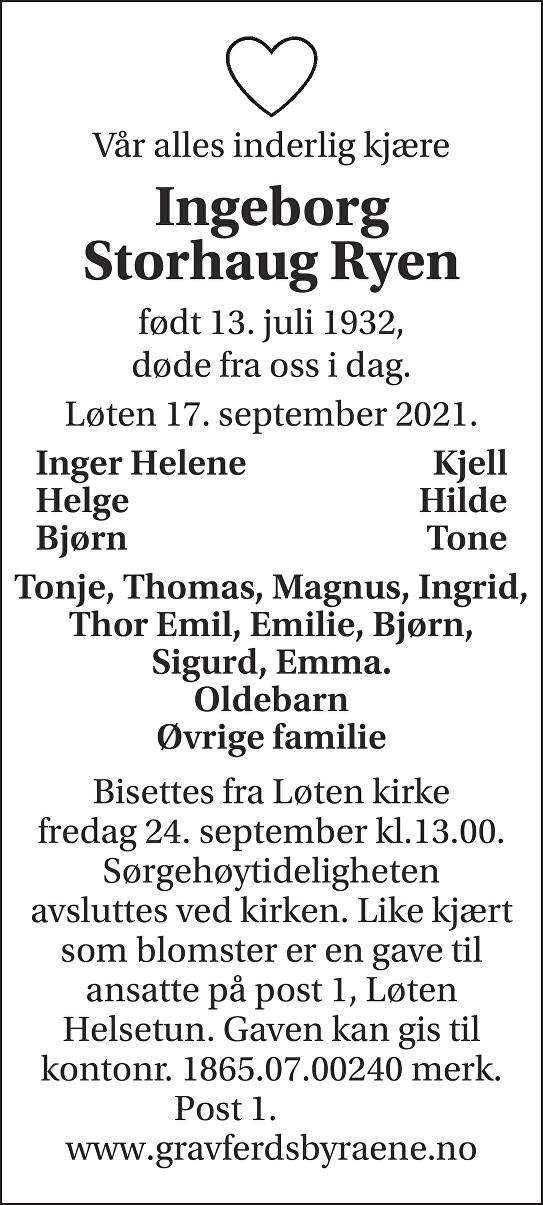 Ingeborg Storhaug Ryen Dødsannonse