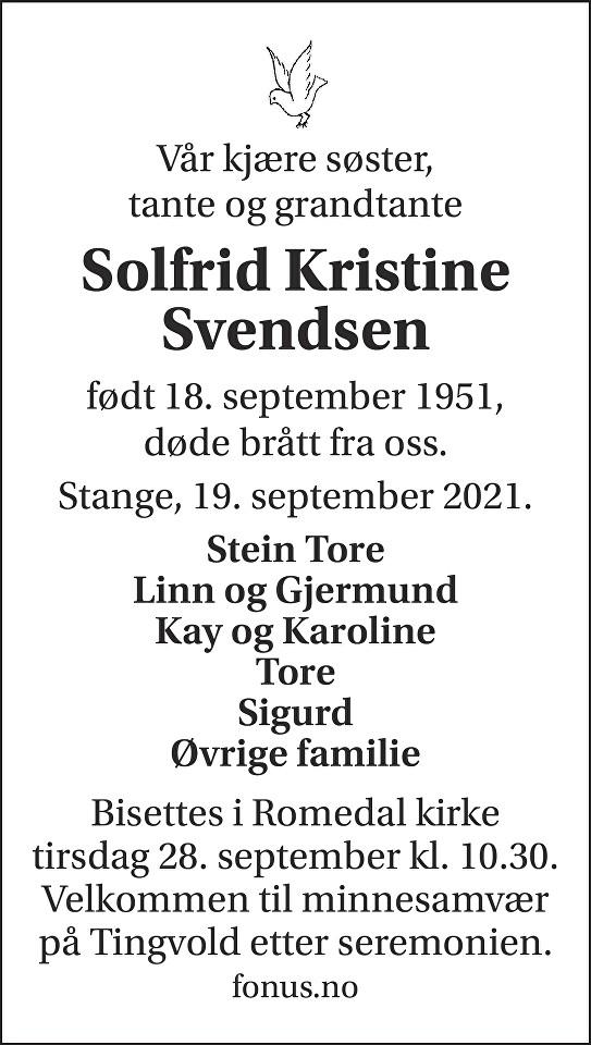 Solfrid Kristine Svendsen Dødsannonse