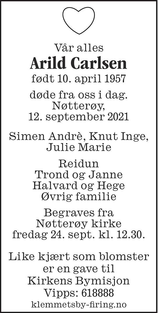 Arild Carlsen Dødsannonse