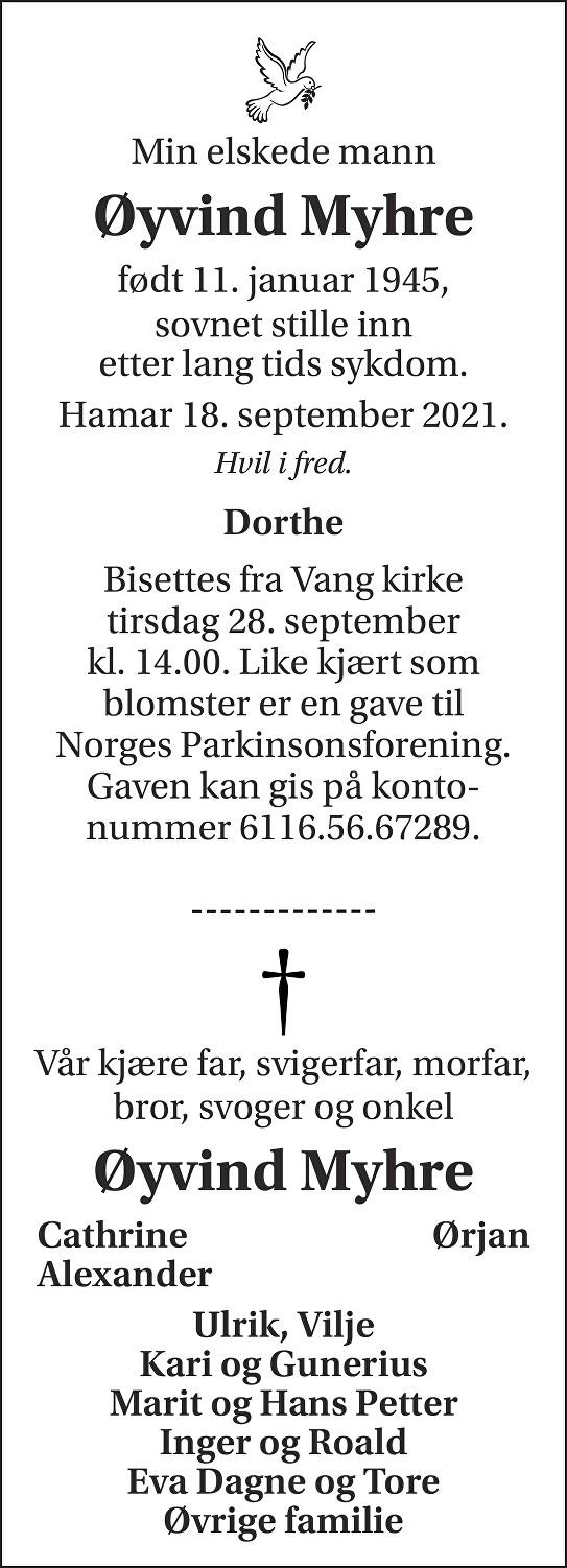 Øyvind Myhre Dødsannonse