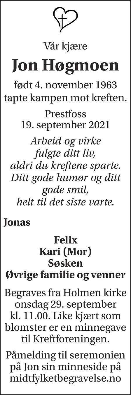 Jon Høgmoen Dødsannonse