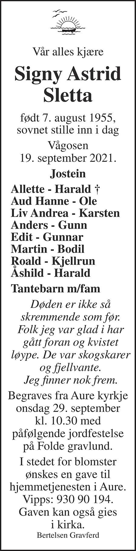 Signy Astrid Sletta Dødsannonse