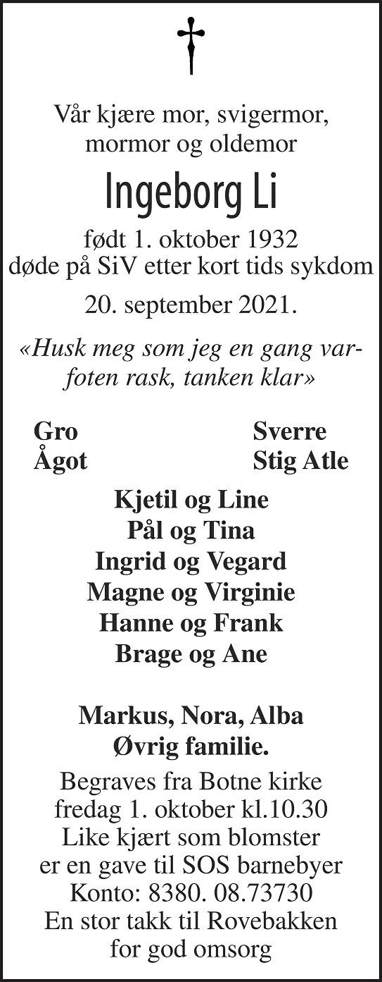 Ingeborg Li Dødsannonse
