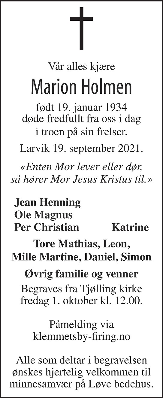 Marion Holmen Dødsannonse