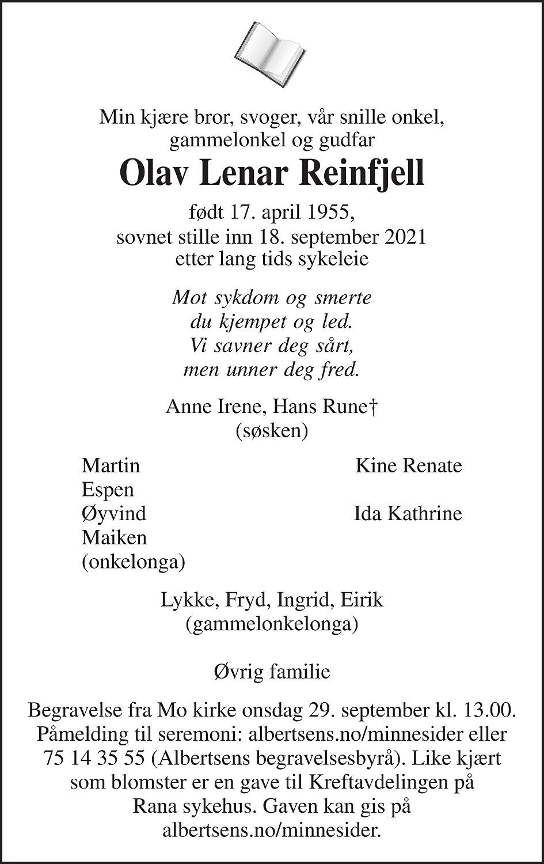 Olav Lenar Reinfjell Dødsannonse