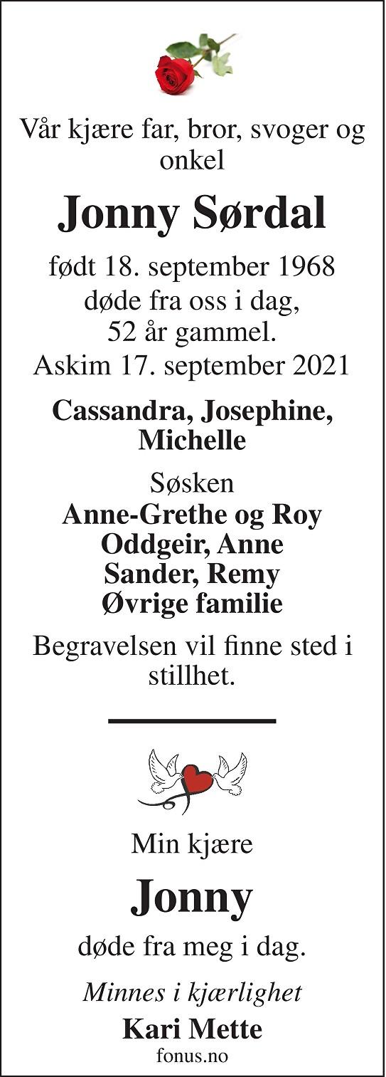 Jonny Sørdal Dødsannonse