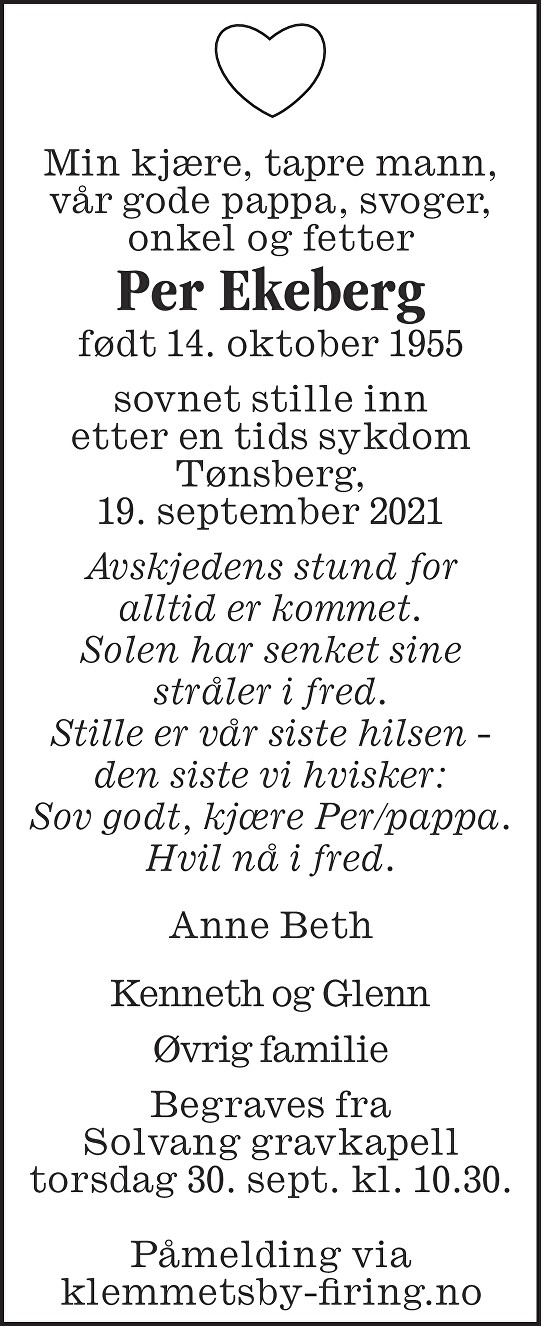Per Ekeberg Dødsannonse