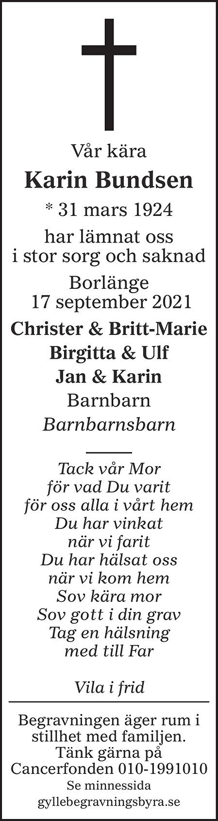 Karin Bundsen Death notice