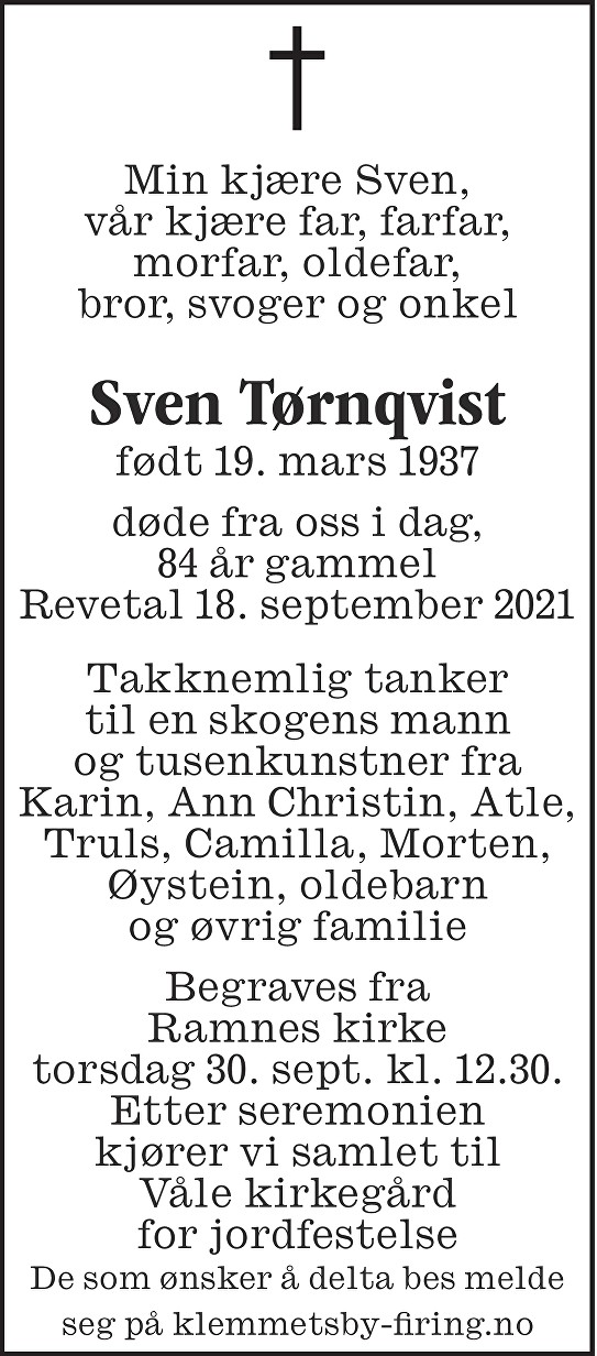 Sven Mauritz Waldemar Tørnqvist Dødsannonse