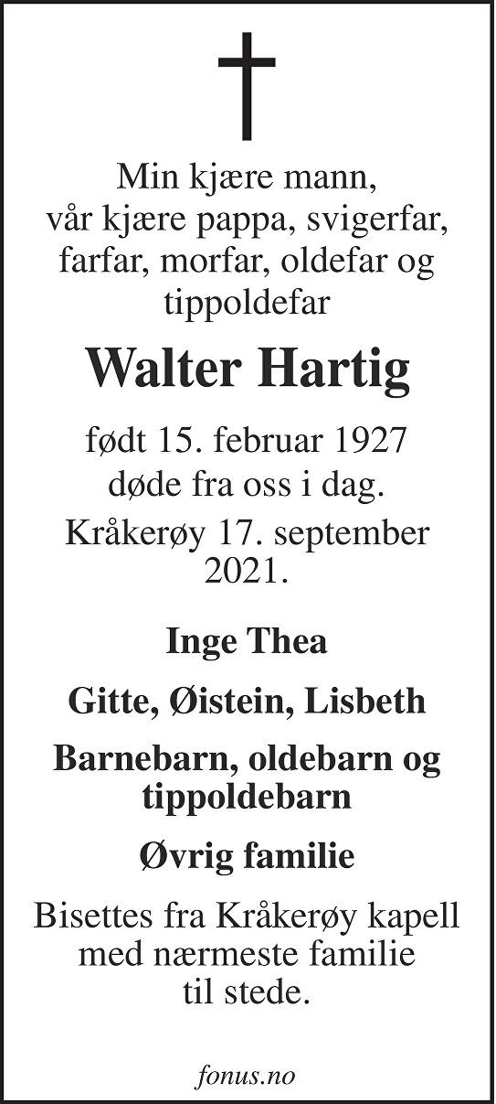 Walter Hartig Dødsannonse