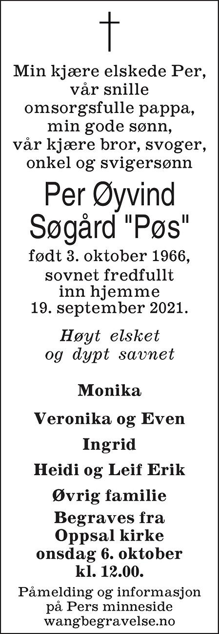 Per Øyvind Søgård Dødsannonse