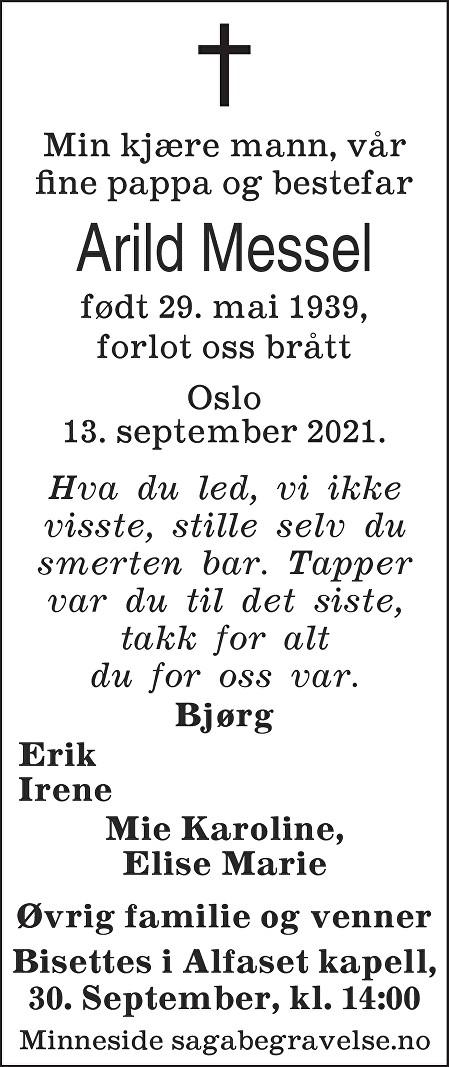 Arild Messel Dødsannonse