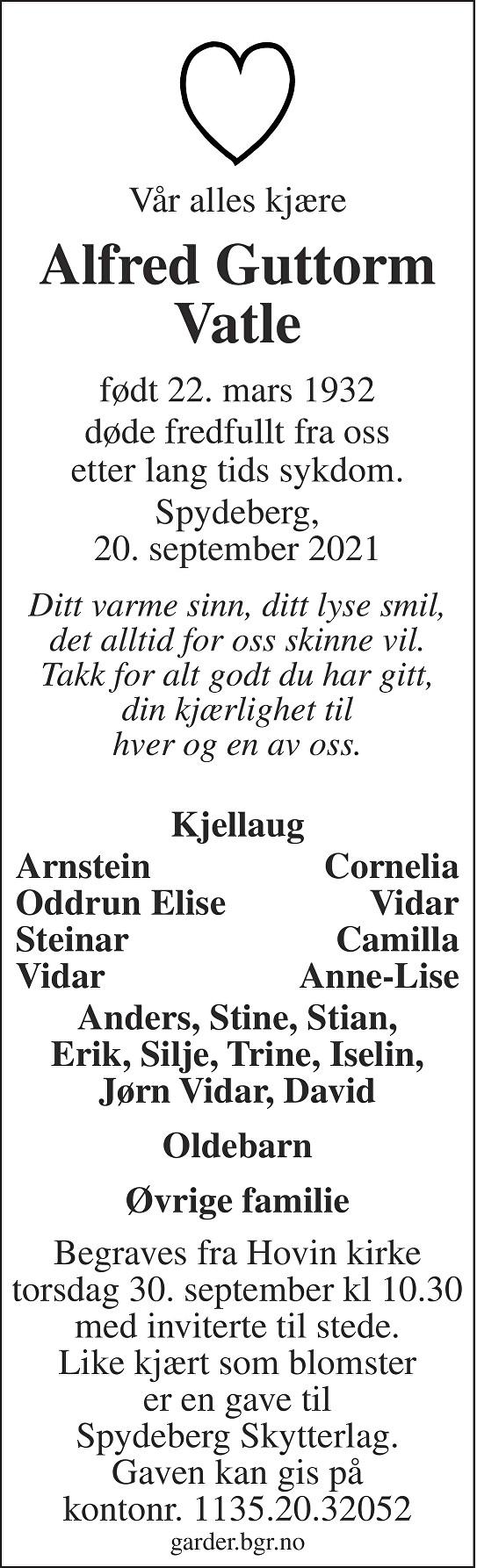 Alfred Guttorm Vatle Dødsannonse