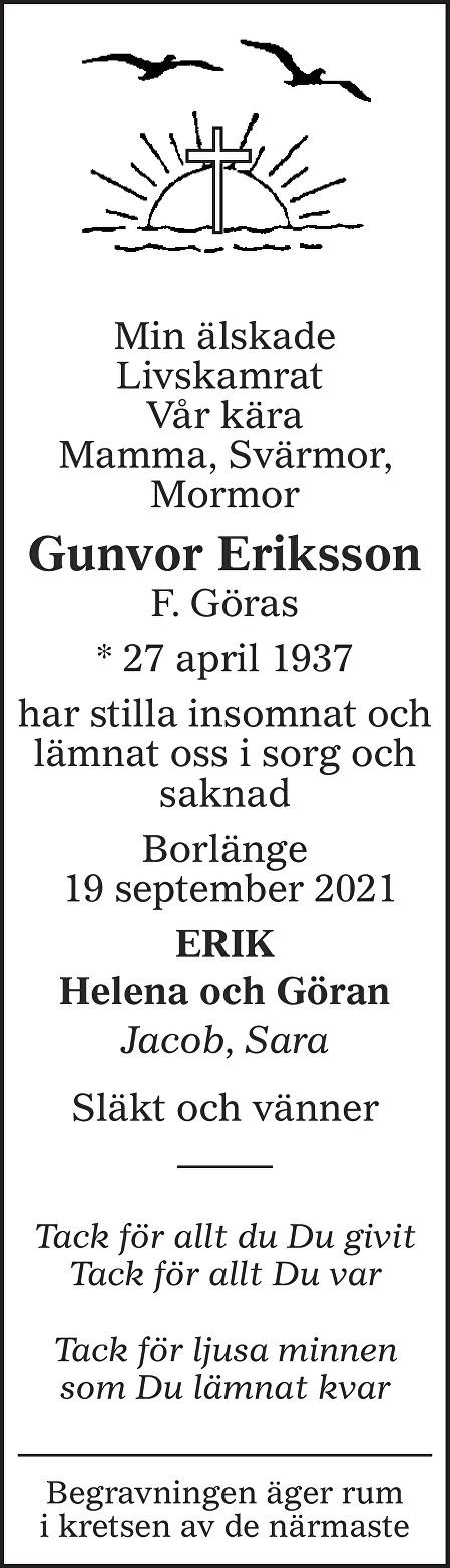 Gunvor Eriksson Death notice
