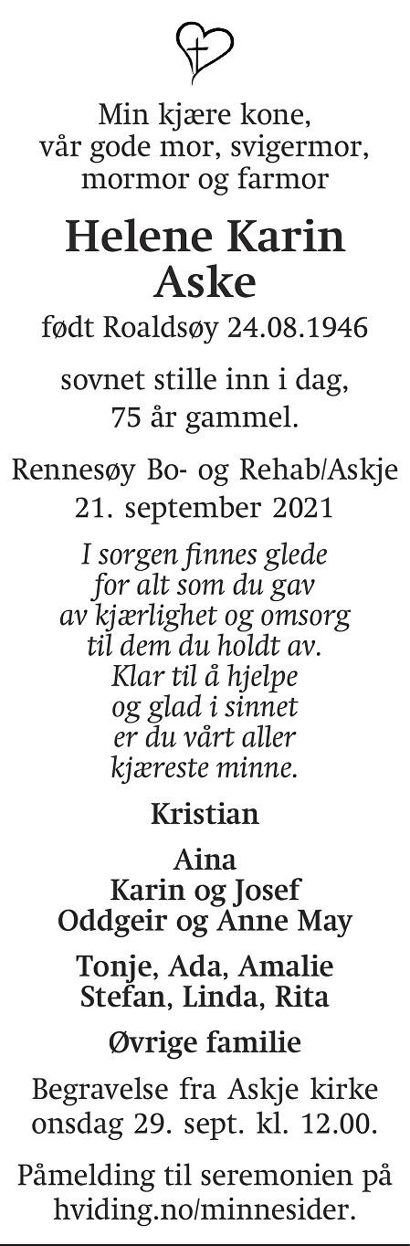 Helene Karin Aske Dødsannonse