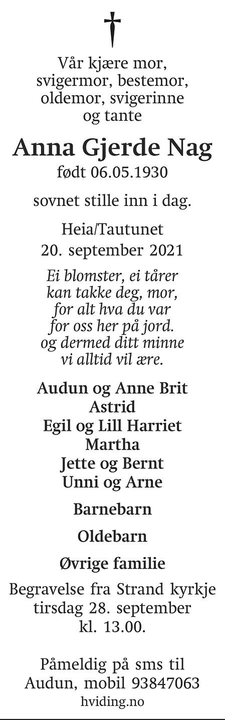 Anna Gjerde  Nag Dødsannonse